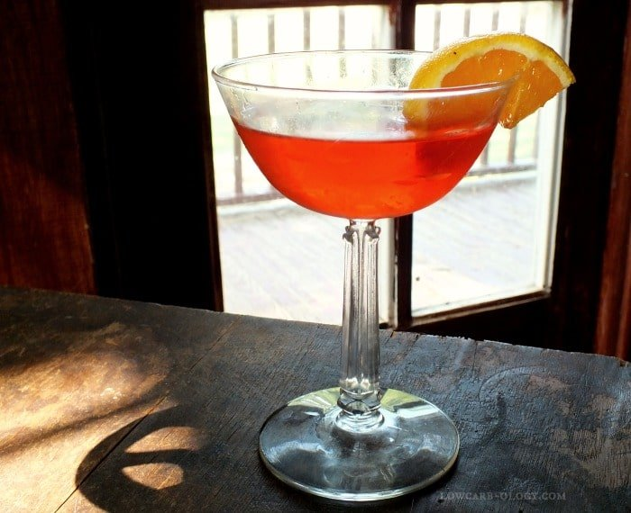 low carb cosmopolitan with an orange