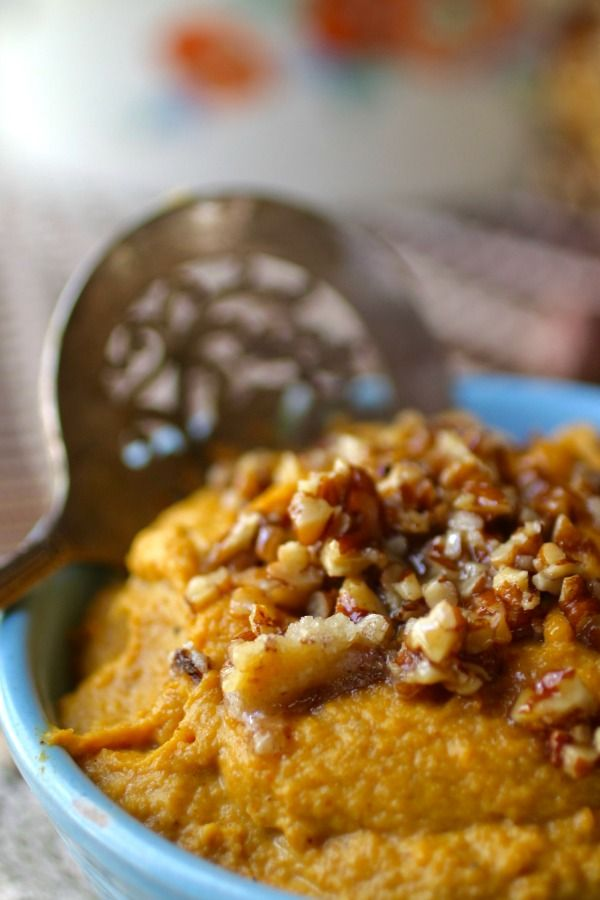 Low carb sweet potato mash has a candied pecan topping. Perfect for the holidays! From Lowcarb-ology.com