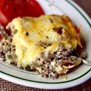 This low carb bacon cheeseburger casserole is so good! Just 2 carbs! From Lowcarb-ology.com
