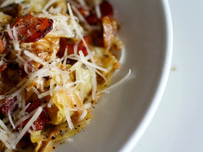 This low carb cabbage carbonara is quick and easy - it's sure to be a favorite. Lowcarb-ology.com
