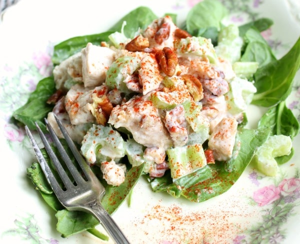 Low carb copycat Neiman Marcus Chicken salad is creamy chicken perfection without a lot of carbs. Lowcarb-ology.com
