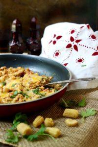 Keto chicken enchilada skillet dinner goes together in less than 15 minutes.