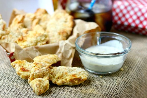 Baked chicken strips, or tenders, have just 3 net carbs per serving! Low carb and gluten free! The chicken is addictively tender and juicy with just a little spicy kick. Click through to find out what gives this chicken it's incredible flavor. From Lowcarb-ology.com