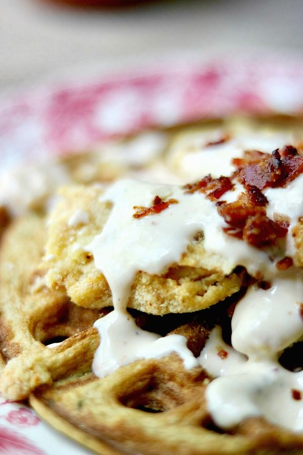Low carb chicken and waffles recipe is a Southern-comfort-food- can't-stop-eating-it dance of spicy, creamy, sweet, salty, crispy, tender goodness. Just 10 net carbs per serving. From Lowcarb-ology.com