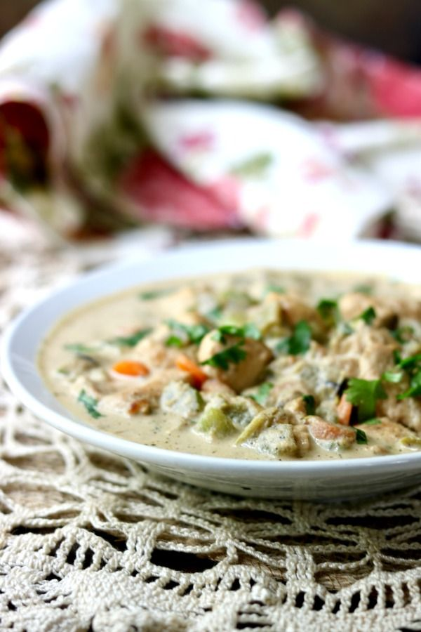 Chicken pot pie soup recipe is creamy low carb comfort food that will warm your soul anytime of the year! Keto friendly, Atkins friendly, just 7 net carbs. Perfect for Autumn! From Lowcarb-ology.com