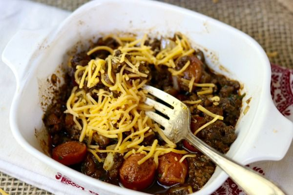 feature image of the low carb chili dog bake in a vintage corningware dish
