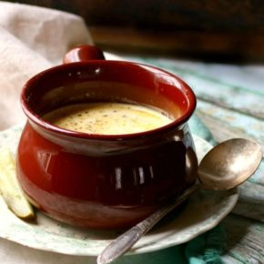 Bowl of low carb dill pickle soup - recipe image