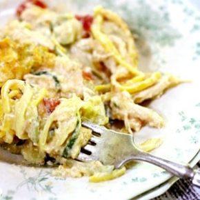 close up of chicken spaghetti for recipe box
